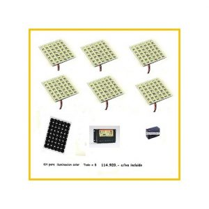 Kit 6 placas 36led +panel solar+regulador carga+bateria