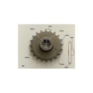 Piñon 20T reductor centrifugo 5/16 motor 49cc
