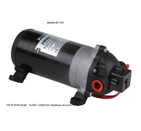 Bombas agua DP-170 12v 5L/min 10.8A 170PSI